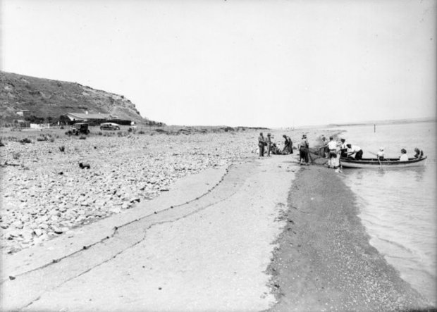 Shoreline at Lake Ferry with fishing party circa s by Sydney Charles Smith Alexander Turnbull Library