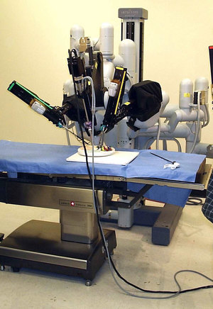 Medical Robot Laparoscopic robotic surgery machine CC BY SA Nimur