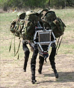 Military Robot Bio inspired Big Dog quadruped robot is being developed as a mule that can traverse difficult terrain PD BY Defense Advanced Research Projects Agency DARPA