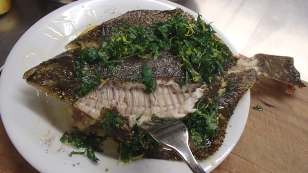 Whole baked flounder with gremolata on crushed new season for Best fish to bake