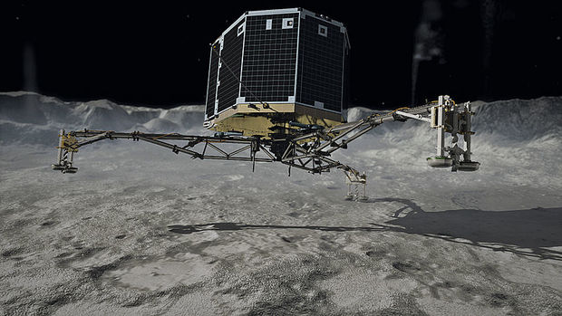 A depiction of the Philae probe touchdown CC BY DLR German Aerospace Center