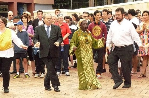 Hannukah dances in Civic Square