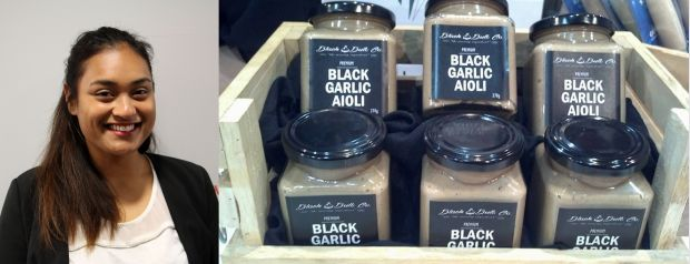Noatia Atiana and jars of black garlic aioli