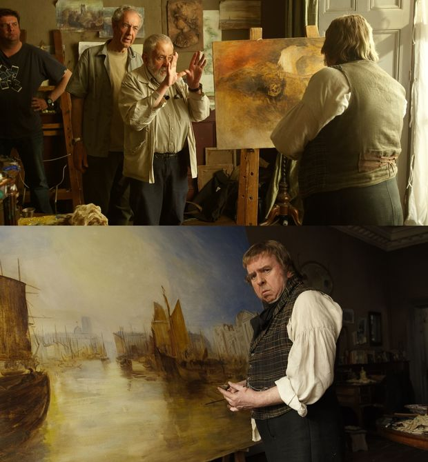 Mike Leigh on set with actor Timothy Spall during filming of Mr Turner collage