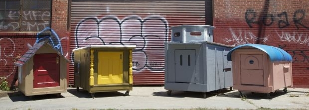 Homeless shelters from recycled materials