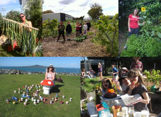 Collage of photos from community gardens