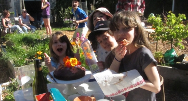 Community garden pizza party
