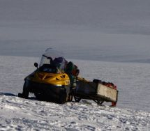 One of the tracked vehicles used to travel in Antarctica