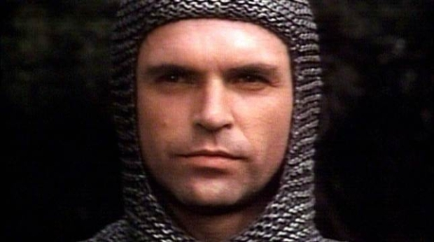 Sam Neill playing Lang Hancock in full armour