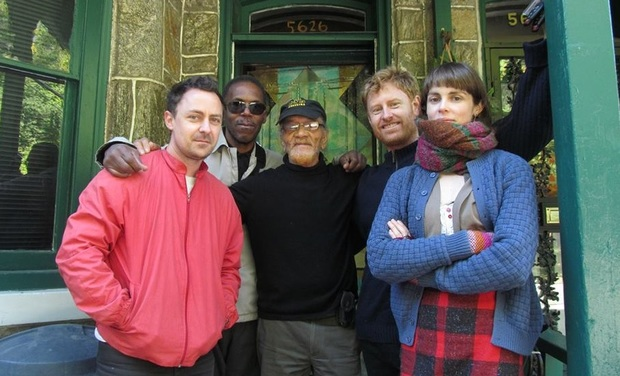 Sun Ra Orchestra of Spheres in front of Sun Ra s house in Philadelphia with Arkestra s Marshall Allen and Fred Allen L to R Andy Wright Fred Allen Marshall Allen Daniel Beban and Nell Thomas