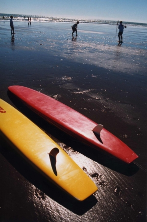 Two surf skis used by the Levin Waitarere Life Guard on the sand at Waitarere Beach on th March