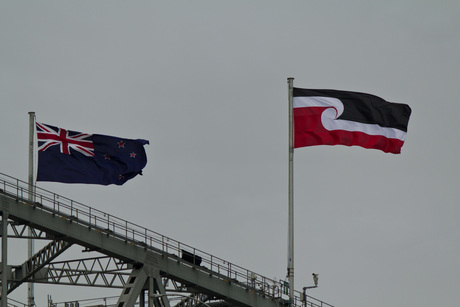 Tino rangatiratanga flag on Harbour Bridge