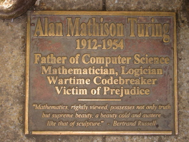 Alan Turing plaque at Sackville Park CC BY Lmno