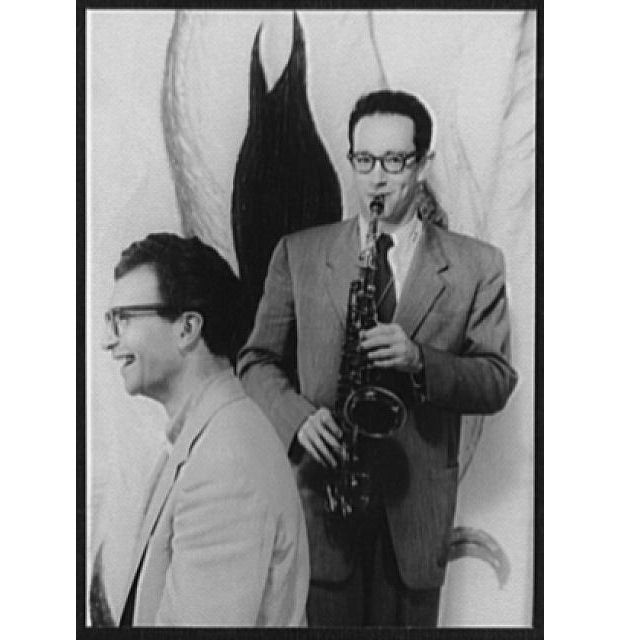 Portrait of Dave Brubeck and Paul Desmond playing saxophone PD photographer Carl Van Vechten Oct