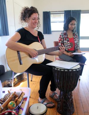 Music therapist Sophie Buxton and Mallika Krishnamurthy from the Grief Centre