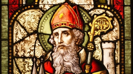 Saint Patrick stained glass window detail
