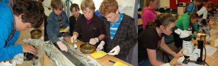 Geology summer school students studying a sediment core
