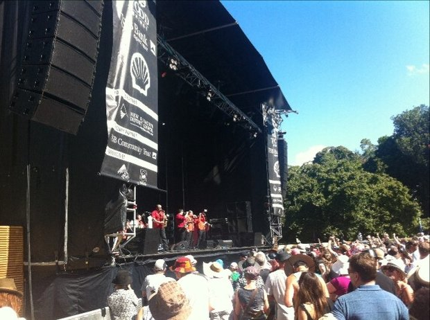 Fanfare Cirocarlia on stage Saturday afternoon at WOMAD