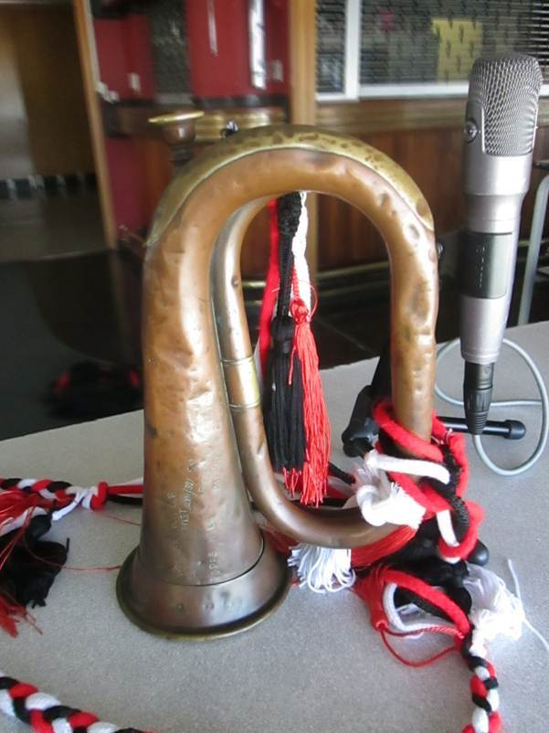 Bugle and microphone by Shelley Wilkinson