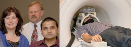 Carrie Innes, Richard Jones, Govinda Poudel and MRI machine