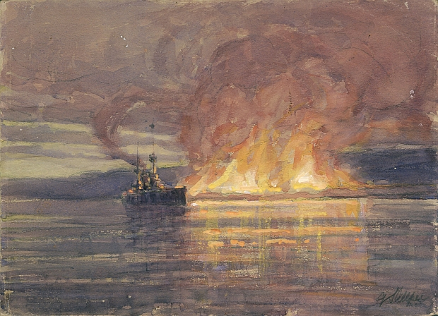 The evacuation of Suvla Bay The burning of a million pounds worth of stores last lighter coming away as dawn broke Allfree Geoffrey S FL