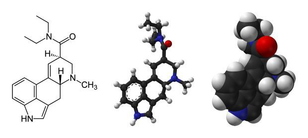 the lysergic acid diethylamide LSD molecule C H N O PD via wikicommons