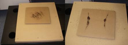 tea dust sprinkled on corrugated paperboard, before (left) and after (right) being exposed to vibrations of a particular frequency