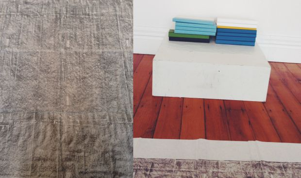 Floor rubbings by Gabrielle Amodeo and stacked into books