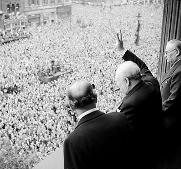 VE Day Churchill waves to crowds PD
