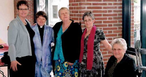 Reverend Vicki Terrell at her ordination at Auckland Anglican Cathedral in November with friends from left Carolyn Wadsworth Robyn Hunt Wendi Wicks and Pam Cook