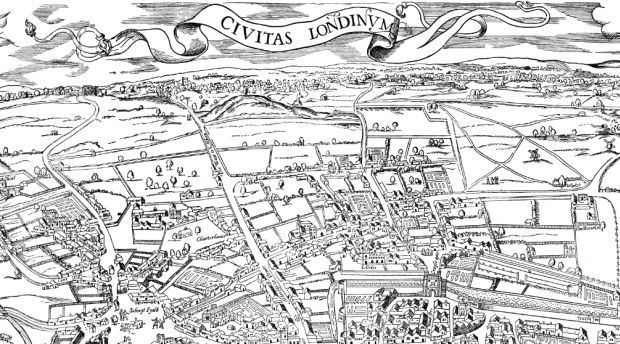 The Agas map of early modern London map extract
