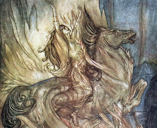 Br nnhilde on Grane leaps onto the funeral pyre of Siegfried