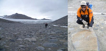 The Keyhole, and Mark Quigley with chatter marks gorged on rocks by glacial ice