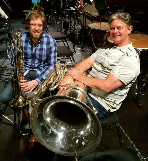 David Bremner and Andrew Jarvis with their instruments trombone and tuba Prog