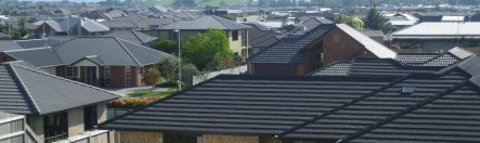 Single storey houses in a new Hamilton suburb epitomise urban sprawl