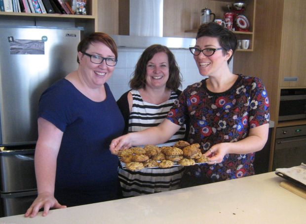 Good Bitches Baking founders Marie Fitzpatrick and Nic Murray alongside volunteer baker Claire Terry