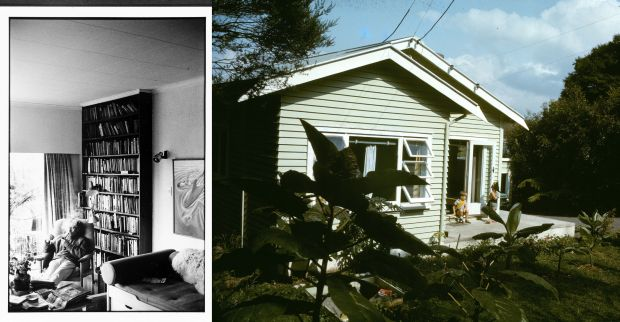 Maurice Shadbolt in his living room and the exterior of the house
