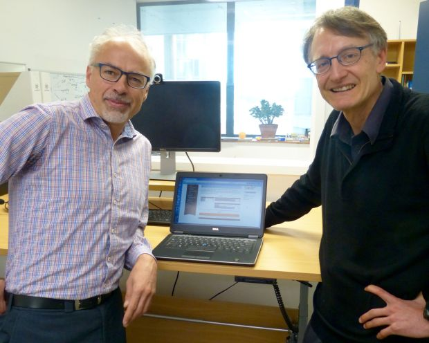 Professor Tony Blakely and Associate Professor Nick Wilson with the online health calculator photo RNZ Jeremy Rose