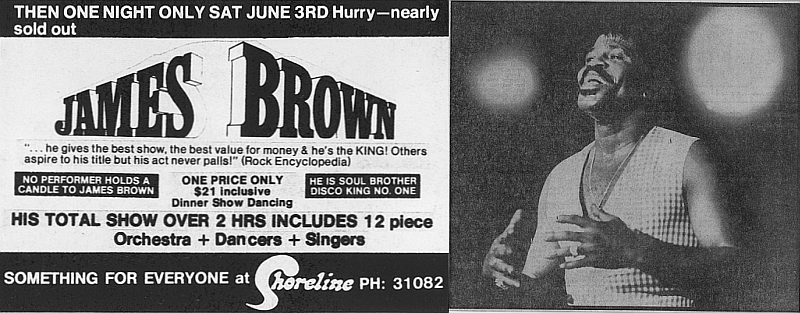 James Brown poster advertising Auckland show.