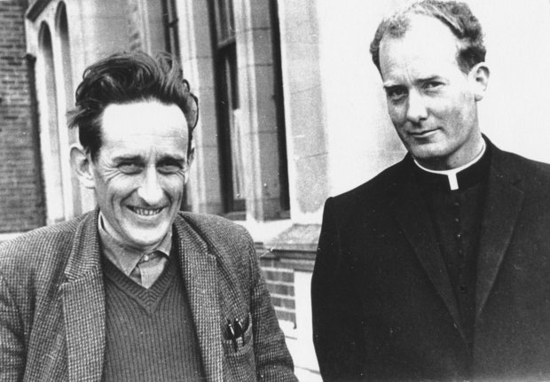 James K Baxter left and John Weir Photo taken in at St Bede s College Christchurch by John Hogan S M