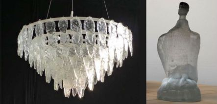 Bird feather glass chandelier and Predator glass bottle