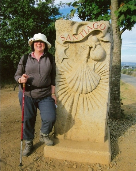 Margaret with pilgrim sculpture.