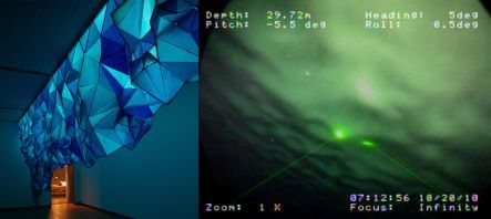 Gabby O'Connor's iceberg installation, and view of underside of Erebus Glacier tongue