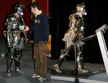 Measuring oxygen consumption by men wearing a full suit of medieval armour and walking on a treadmill