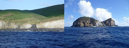 Kermadec volcano panorama - Macauley at left, and Cheeseman on right