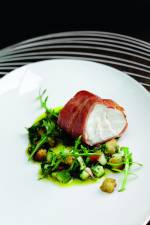 Parma ham wrapped monkfish with tomato and cucumber for Monkfish and parma ham recipe