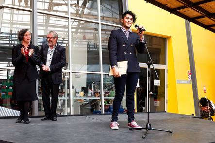 Toi Whakaari actor Alex Tarrant receives his scholarship from The Museum Art Hotel image courtesy of Shakespeare Globe Centre New Zealand