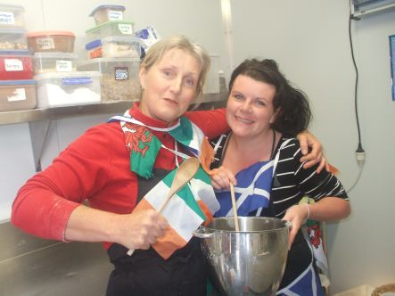 Celtic cuisine Irish woman Meg and Scottish lass Kerry getting down and dirty for the RWC small