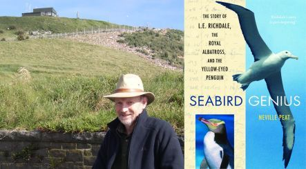 Neville Peat and book cover of Seabird Genius