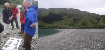 Field trip members, and Cable Bay's boulder barrier